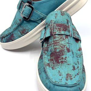 Rusted Turquoise Slip On Shoe Western Loafers Mule